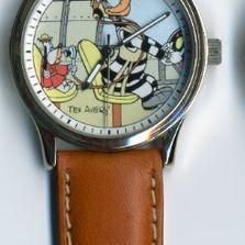 Montre, Tex Avery Droopy & Le Loup aviateur bracelet cuir-0