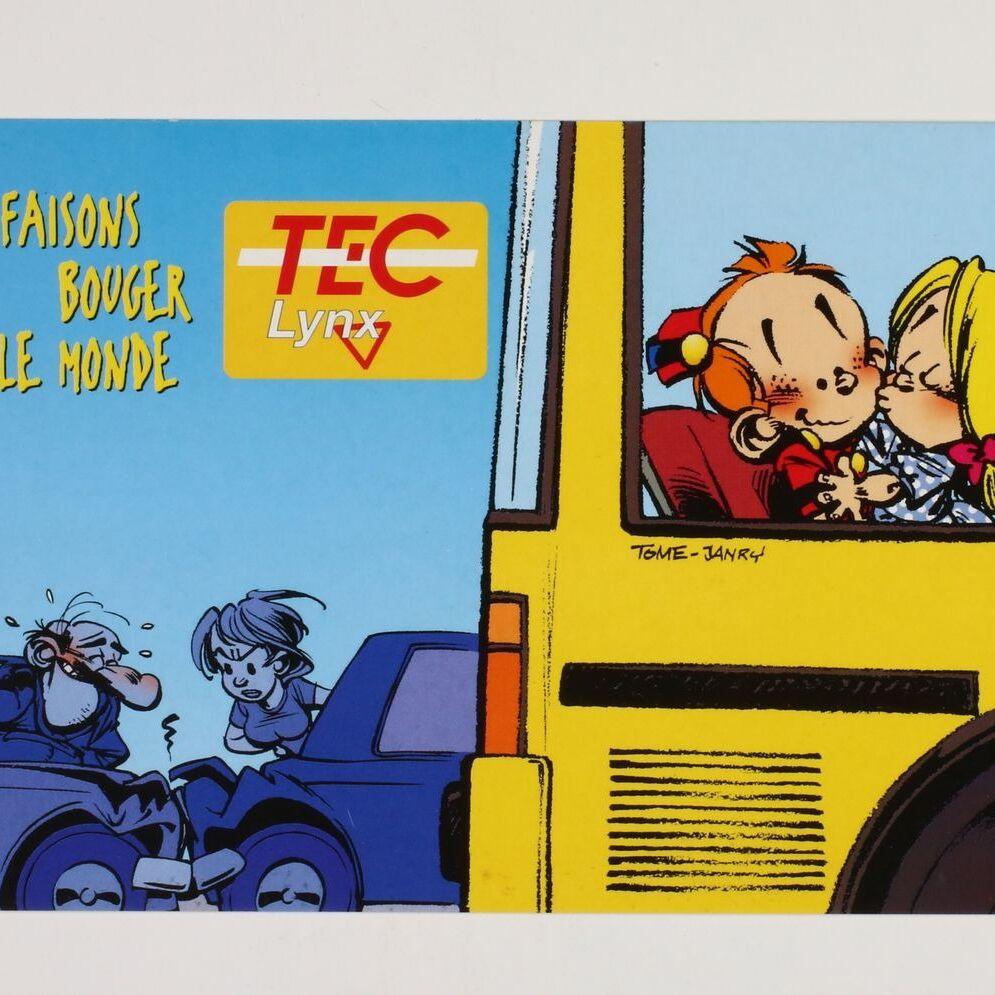 Carte postale publicitaire, Le Petit Spirou et Suzette dans le bus 'Faisons bouger le monde'-0