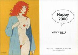 Carte de voeux : Rousse dénudée Happy 2000-0