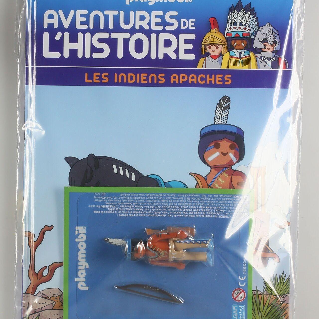 Playmobil, aventure de l'histoire, les grandes guerrières du moyen âge. La bd accompagnée de son Playmobil, l'indien Apache-0