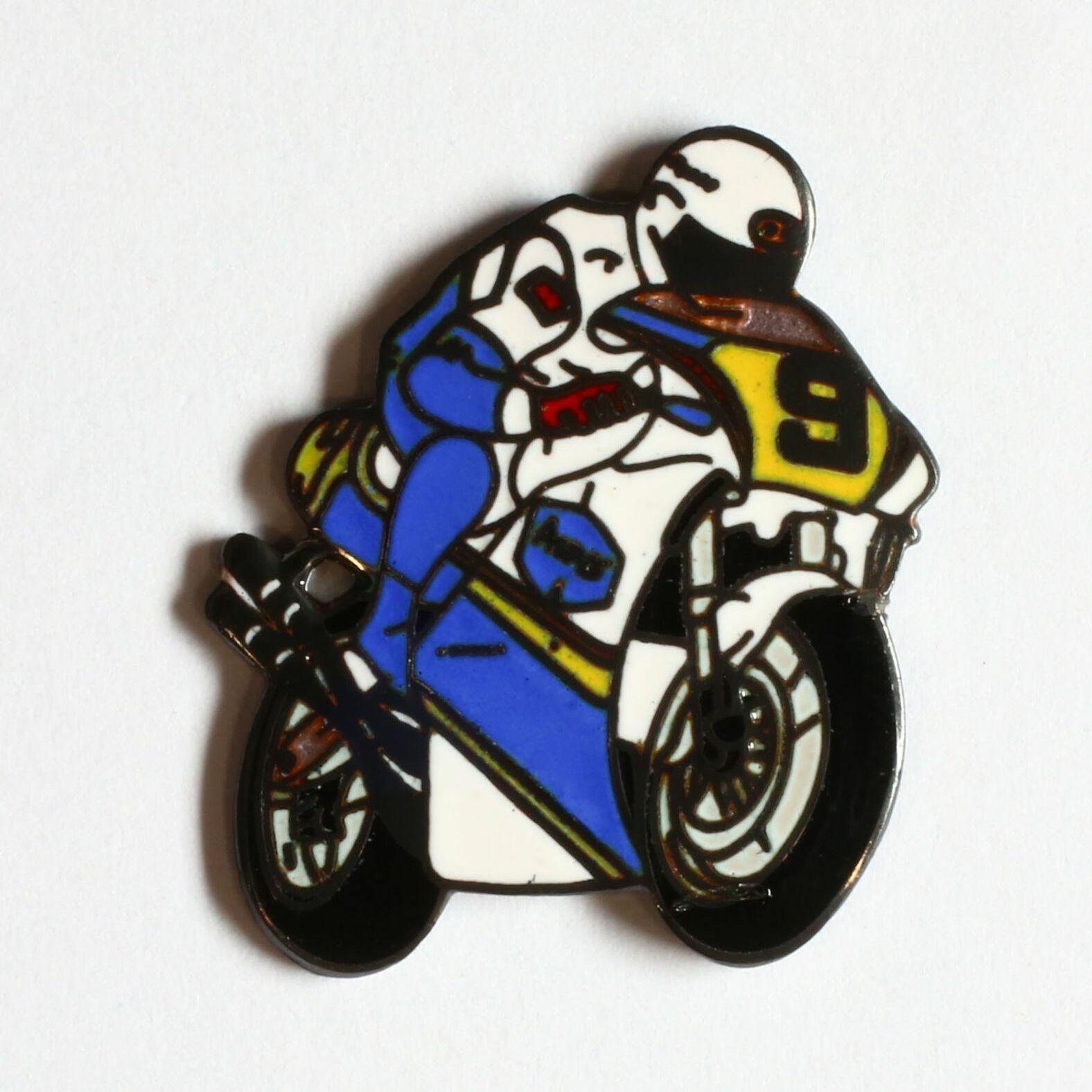 Moto de course - blanche et bleu