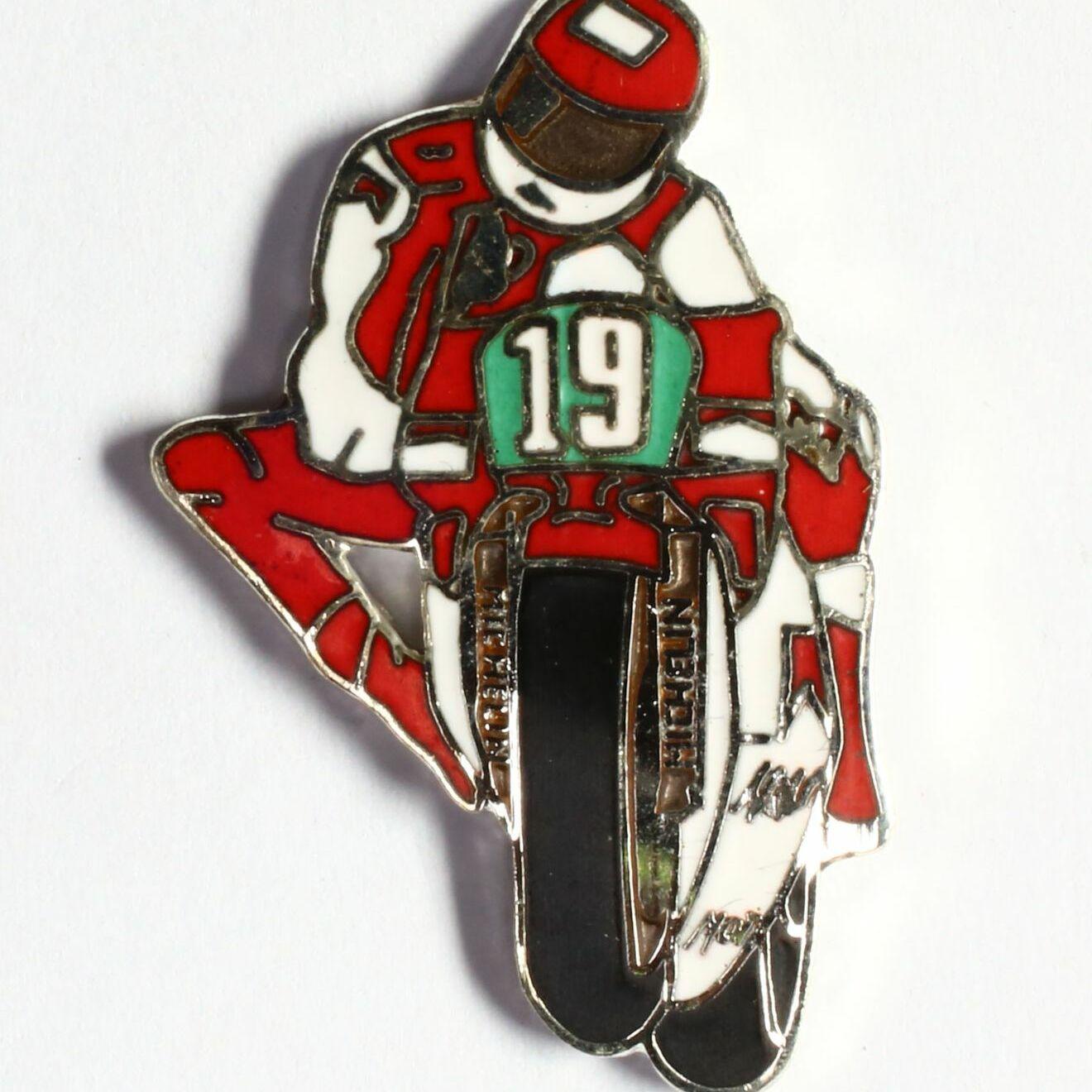 Moto de course - blanc et rouge