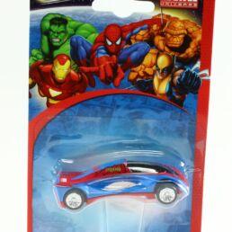 Spiderman, voiture miniature châssis rouge avec logo jaune, Marvel collection