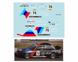 Décalcomanie pour miniature 1/43 BMW M3 - 24 heures de SPA 1988 - W. MALJEAN - V. BERTINCHAMPS -P.JAMIN