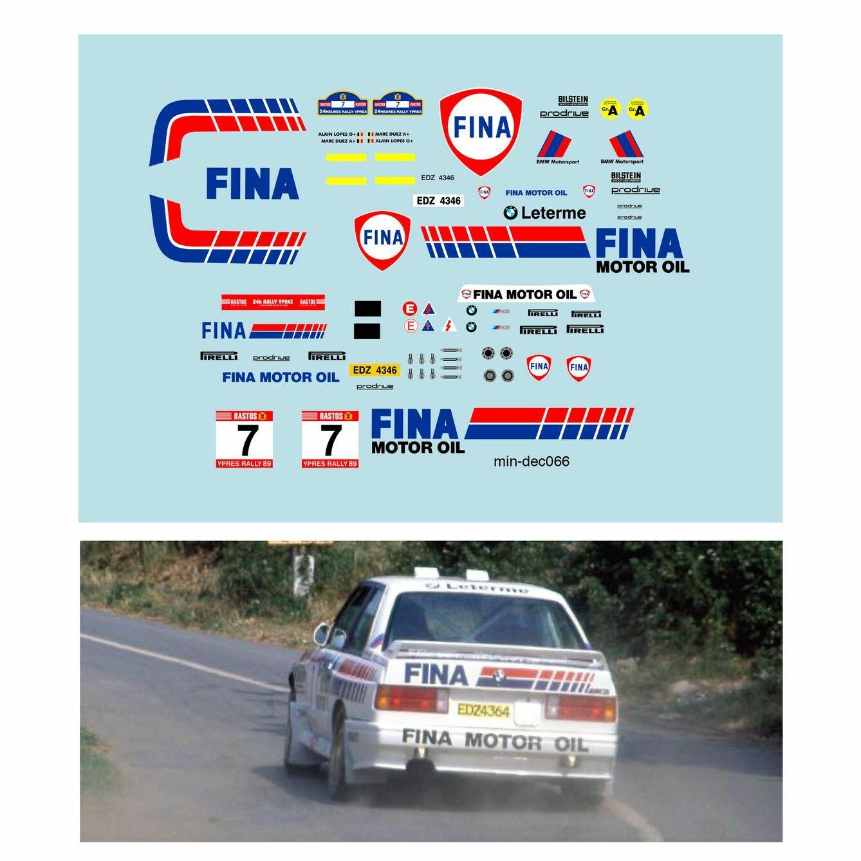 Décalcomanie pour miniature 1/43 BMW M3 - Ypres Rally 1989 - M. DUEZ - A.LOPES
