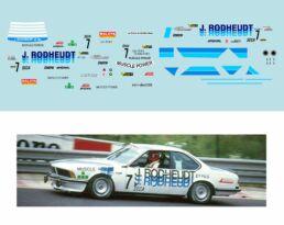 Décalcomanie pour miniature 1/43 BMW 635 - 24 heures de SPA 1984 - B.ENGE -H.HEMMES -A. HUWELER