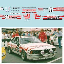 Décalcomanie pour miniature 1/43 BMW 635 - 24 heures de SPA 1986 - G. RAHIER - D. DE RADIGUES-C. BALLOT LENA