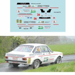 Décalcomanie pour miniature 1/43 FORD ESCORT MKII - Tac Rallye 2012 - DEVEUX - VANERUM