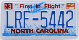 Plaque d'immatriculation américaine NORTH CAROLINA First in Flight