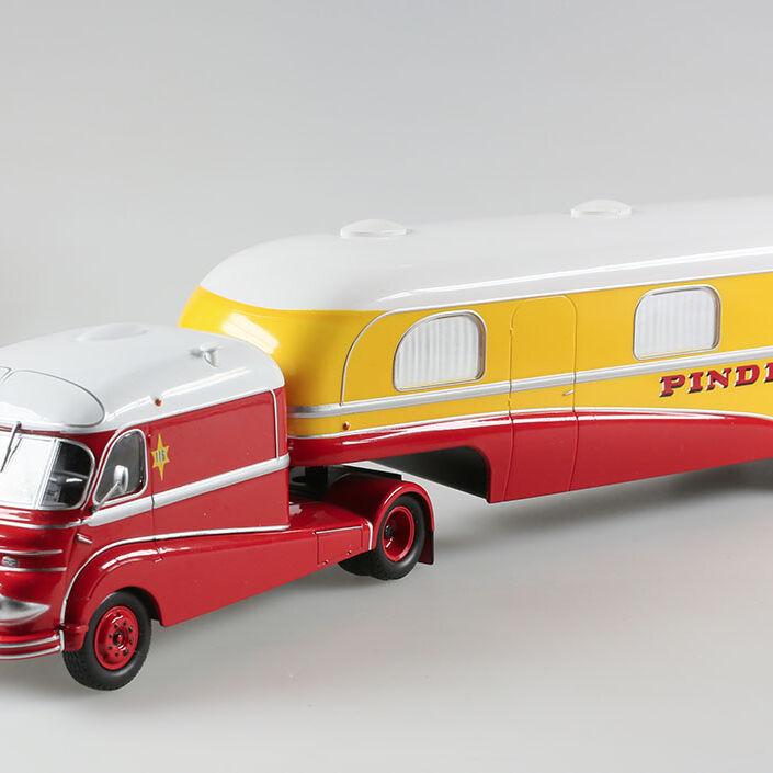 Cirque Pinder, ensemble Tracteur + Remorque caravane Assomption, 1/43